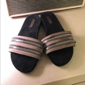 All saints slides leather with zippers
